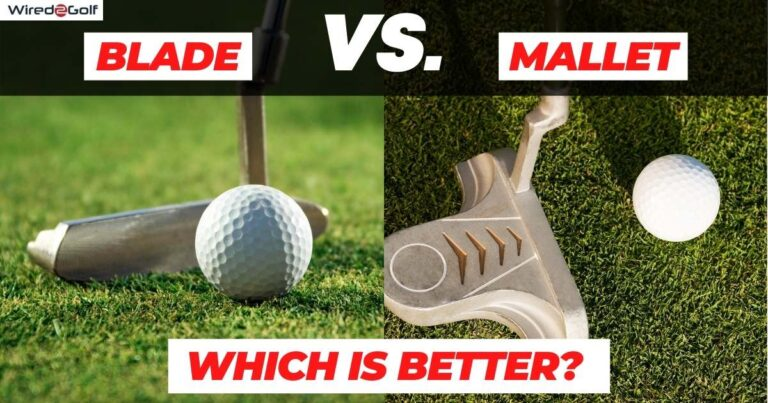 side by side comparison of blade putter and mallet putter.